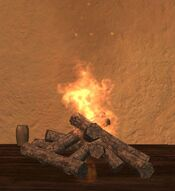 Wood fireplace fire one