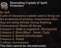Resonating crystals spellprotection