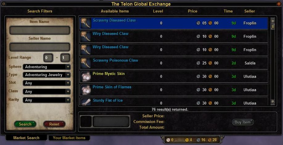 Telon exchange market search