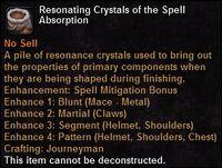 Resonating crystals spellabsorption