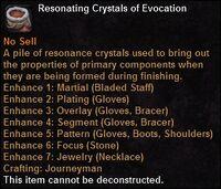 Resonating crystals evocation