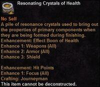 Resonating crystals health