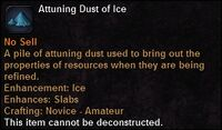 Attuning dust ice