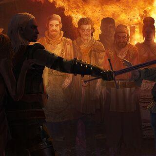 Геральт спасает Абигайл от кметов