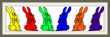 Six Chocolate Bunnies Bow Colorful Frames