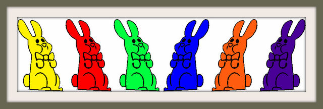 File:Six Chocolate Bunnies Bow Colorful Frames.jpg