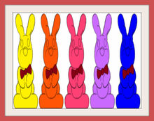 Five Chocolate Bunny Colorful Frames