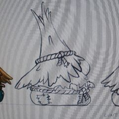 Concept art for Mr. Lunt as Scarecrow in <i>