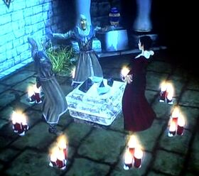 San and friends in ritual