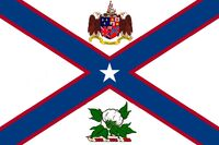 Alabama State Governors Standard Proposal St Andrews Cross Concept 5pt Republic Star Centered with Coat of Arms Top and Military Crest Bottom Designed By Stephen Richard Barlow 28 July 2014