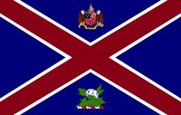 Alabama State Governors Standard Proposal Southern Cross Concept with Coat of Arms and Military Crest 1000px Designed By Stephen Richard Barlow 29 July 2014