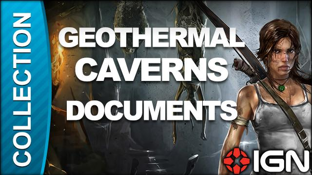 Tomb Raider Walkthrough - Document Locations Geothermal Caverns