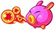 Kirby Mass Attack arte - Fire Noserunt