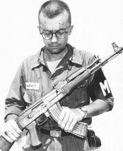 MP Inspects Captured AK-47 Vietnam