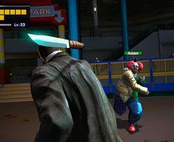 Adam the clown knife throw