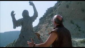 Cliff turned into a concrete statue