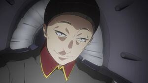 Aldnoah zero-02-trillram-knight-mecha pilot-military uniform-villain-evil grin