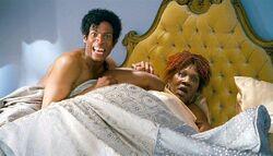 Buster Perkins & Rasputia in bed