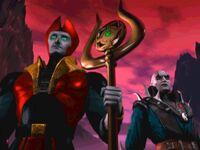 Lord Shinnok with Quan Chi