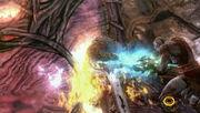 Kratos' Stabs Gaia's Heart