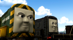 Diesel and Bert grin meanly at Gordon's incident