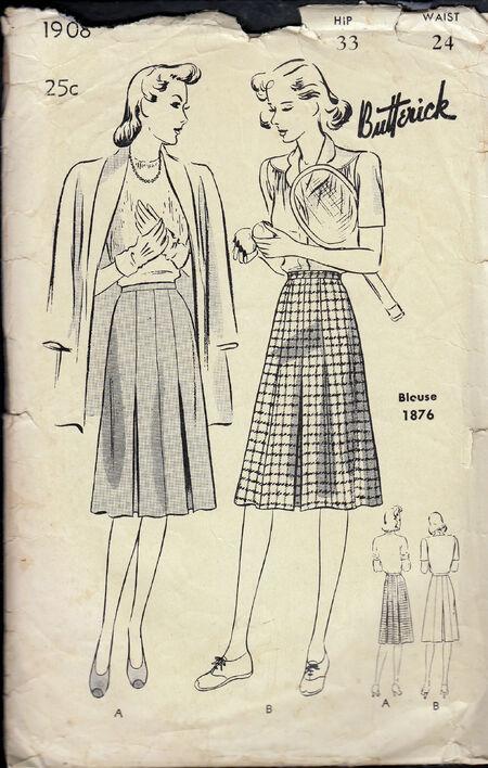 1940s vintage sewing pattern skirt Penelope Rose