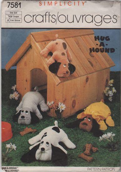 Simplicity 7581 Hug-A-Hound Stuffed Animal Dog