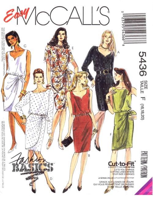 McCalls 1991 5436 F Size 16 - 20