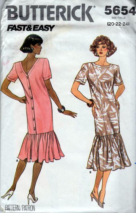 Butterick Patterns 5654 ruffled hem dress