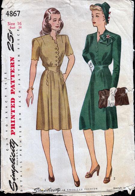 Vintage 1940s dress pattern from Penelope Rose at Artfire (3)