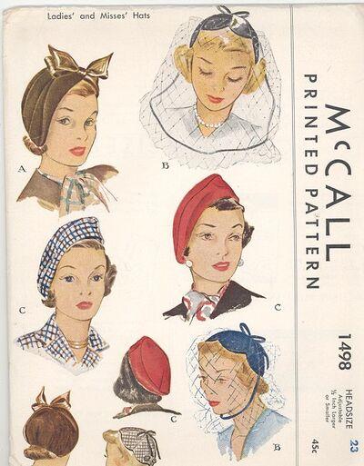 1949 McCall Hat Pattern 1498
