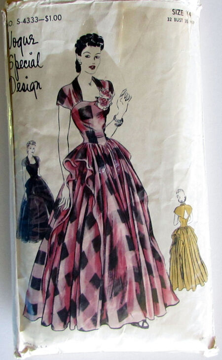 Vogue S-4333 Special design Pattern One Piece Sleeveless Evening Frock Vintage Incomplete Size 14 Bust 32 2