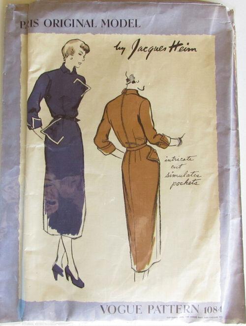 Vogue Paris Original Model Pattern1084 by Jacques Hein Size 12, Bust 30, Hip 33 Vintage 1940 Incomplete 2