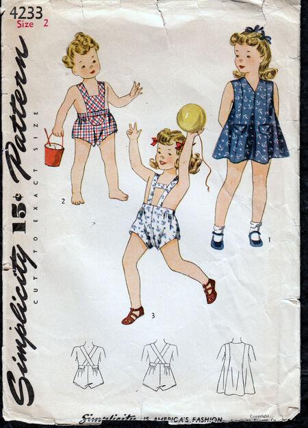 Vintage 1950 childrens playsuit pattern from Penelope rose at Artfire