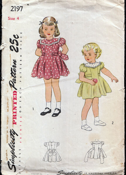 Vintage 1940s girls dress pattern from Penelope Rose at Artfire
