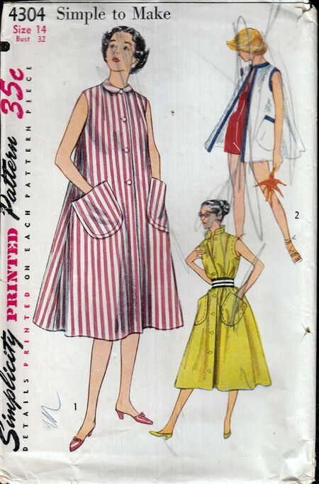 Vintage 1950s beach coat pattern from Penelope Rose at Artfire