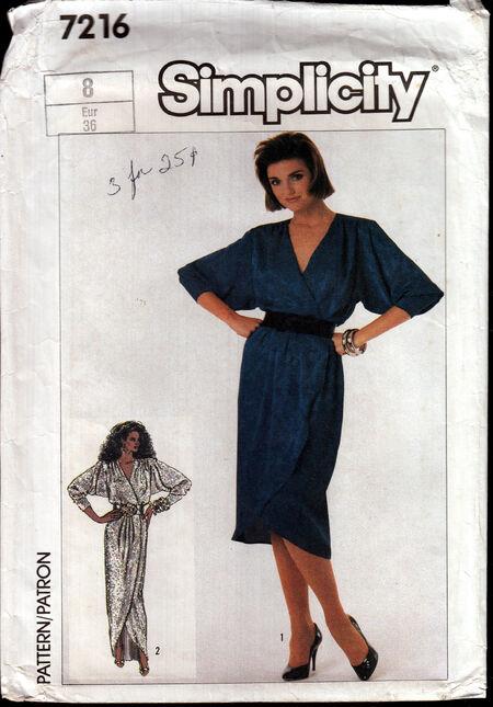 Vintage sewing pattern 1980s front wrap dress Penelope Rose at Artfire