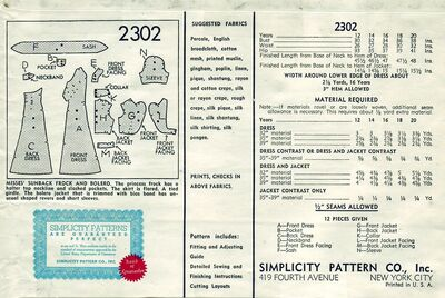 Simplicity 2302 B back