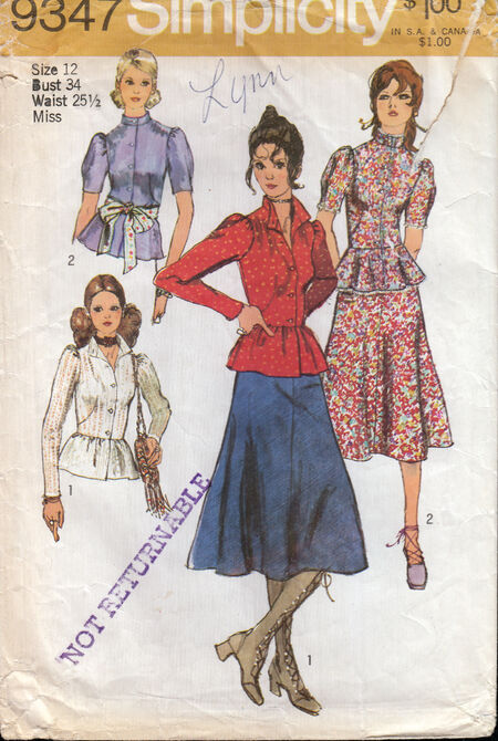 Penelope Rose vintage sewing pattern 1970s midi skirt and blouse