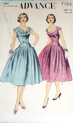 Advance 7103 Vintage 1950s draped dress image