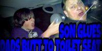 SON GLUES DADS BUTT TO TOILET SEAT!!! (Prank)
