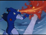 Ep.27.87 - Snakehead robeast breathing fire against Golion tornado