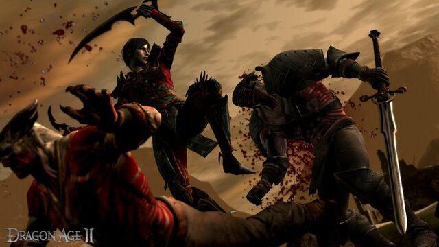 File:Hawke fighting Qunari.jpg
