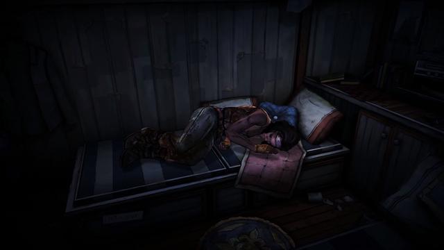 File:TWDM Michonne Sleeping.png