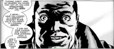 Negan reaction on eyehole