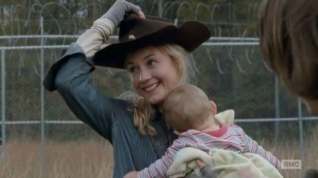 File:Beth with Ricks hat while holding Judith so very cute.JPG