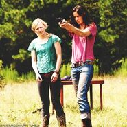 Beth and Lori target practice at farm
