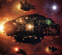 Ork Terror Ship with Fleet