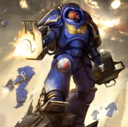 An Inceptor of the Ultramarines Chapter unleashes the wrath of the Emperor