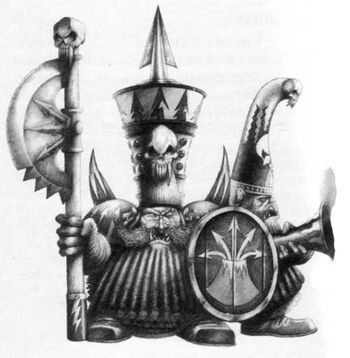 Chaos Dwarf Warriors Axe and Blunderbuss B&W Mark Gibbons Illustration